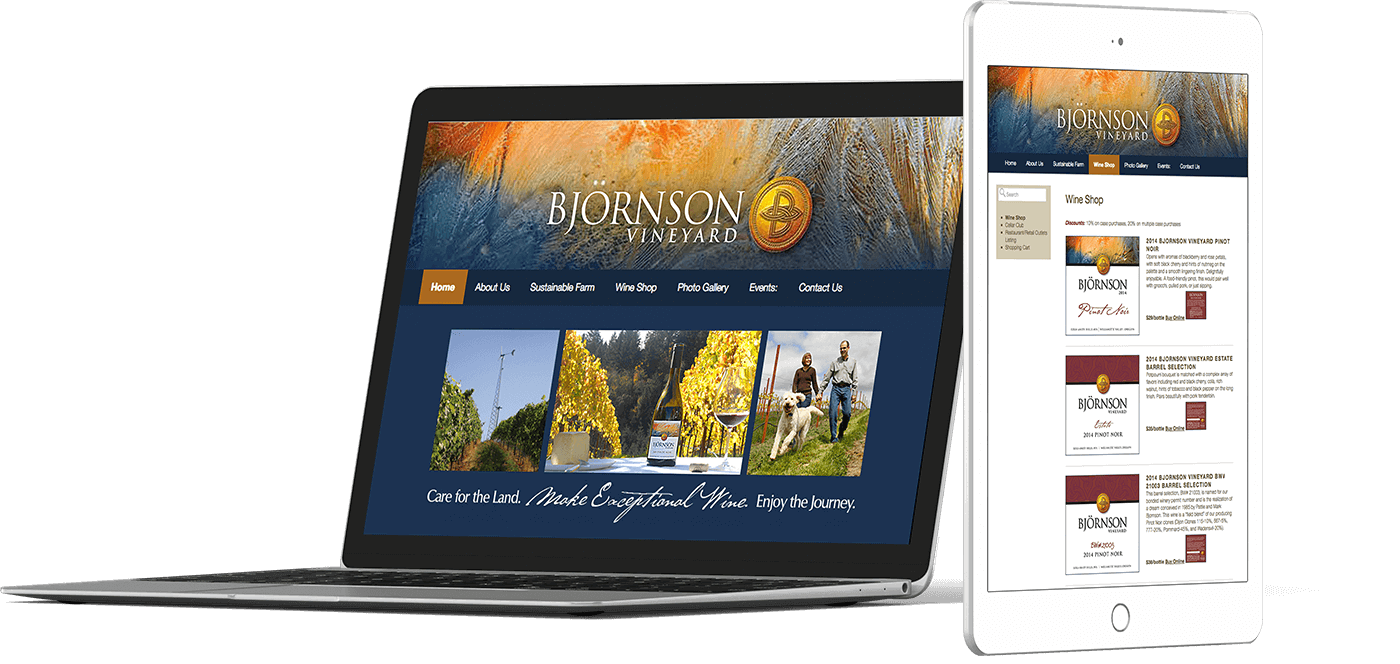 Web Design In House Graphics Salem Oregon - Bjornson Vineyard