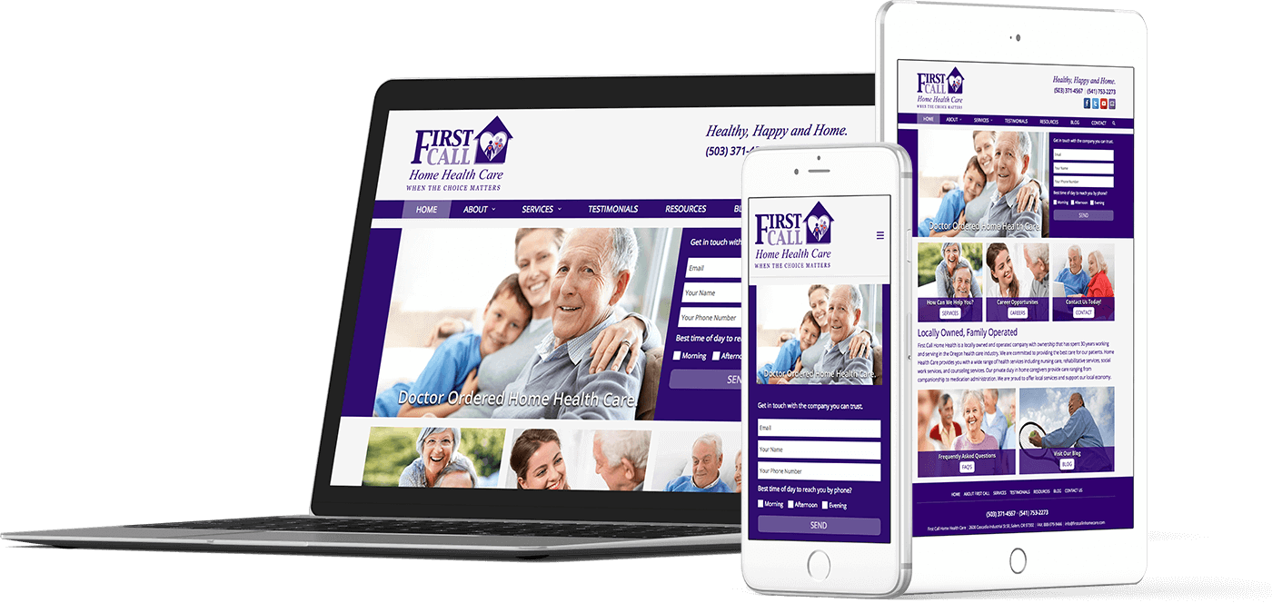 Web Design In House Graphics Salem Oregon - First Call Home Health Care