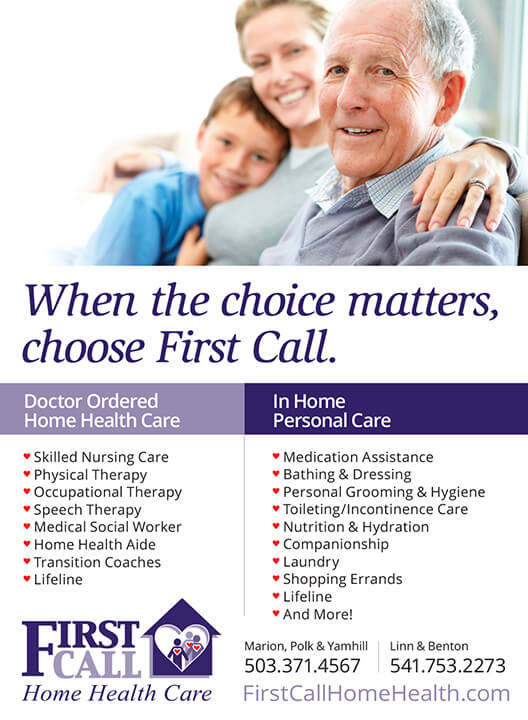 Ad Design In House Graphics Salem Oregon First Call Home Health