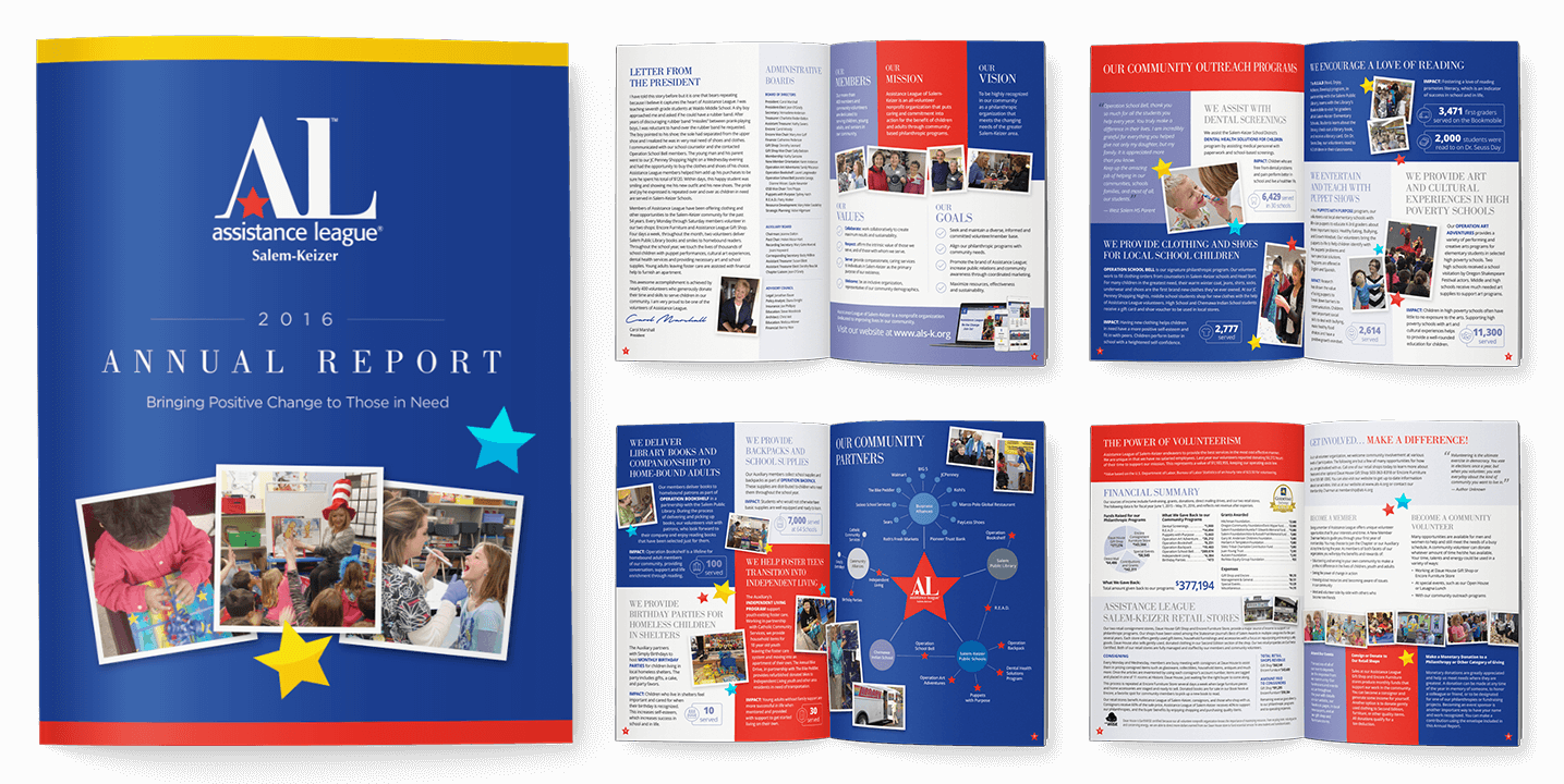 Newsletter Design In House Graphics Salem Oregon Assistance League Annual Report